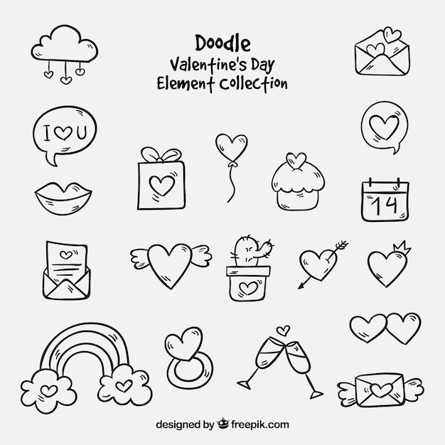Doodle Collection D 233 L 233 Ments De La Saint Valentin