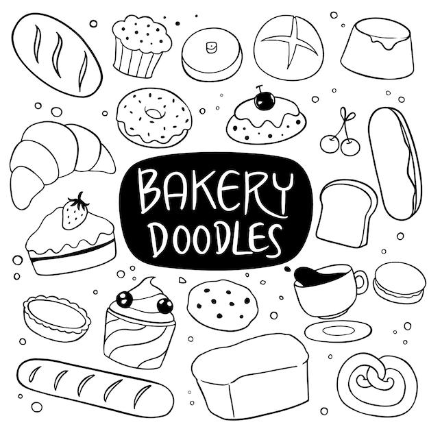 Doodle dessiné main boulangerie et dessert Vecteur Premium