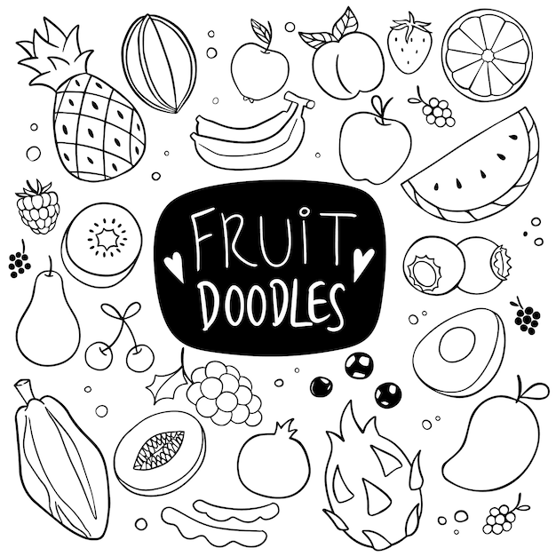 Doodle dessiné main fruits Vecteur Premium