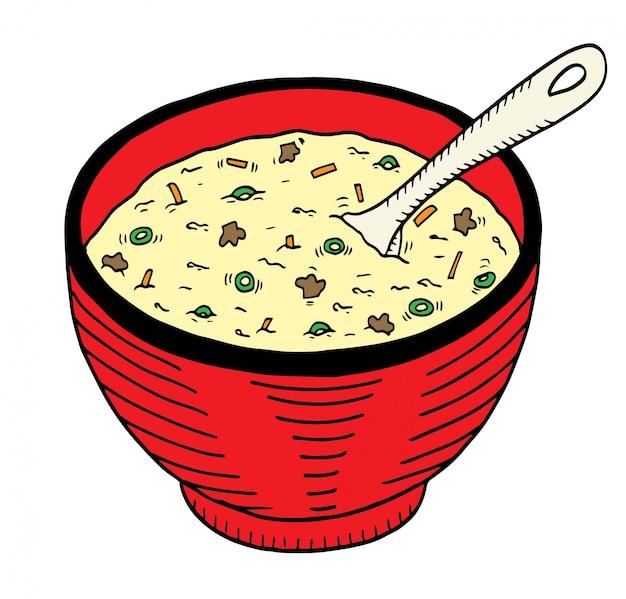 Doodle dessiné à la main simple d'un bol de soupe Vecteur Premium