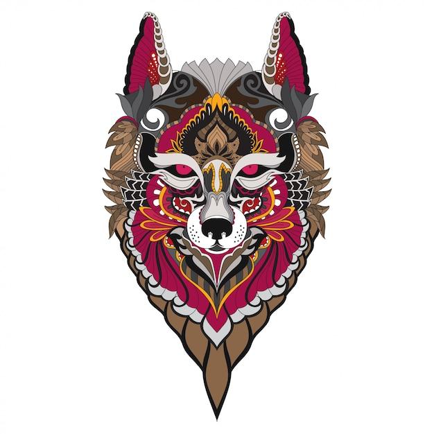 Doodle dessiné à la main zentangle fox illustration-vecteur. Vecteur Premium