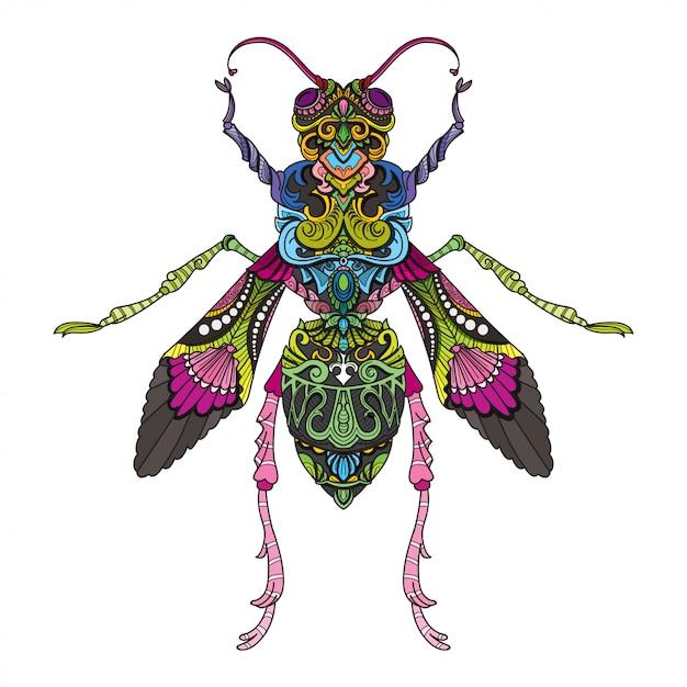 Doodle dessiné à la main zentangle mouche illustration-vecteur. Vecteur Premium