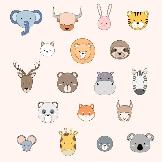 Doodle de dessins animés d'animaux mignons icône collection Vecteur Premium