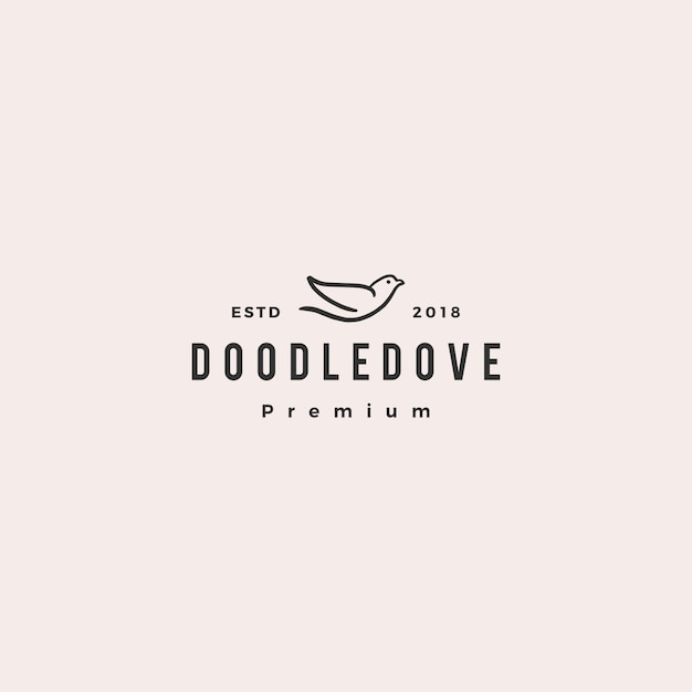 Doodle dove logo icône illustration vectorielle Vecteur Premium