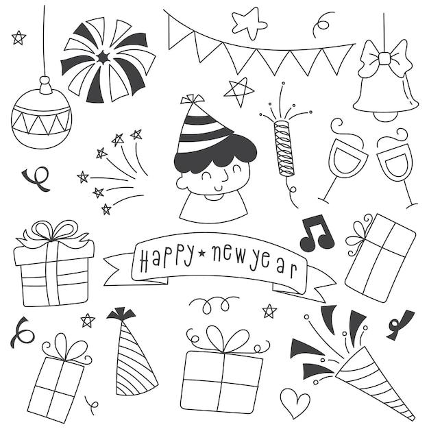 Doodle Du Nouvel An Vecteur gratuit