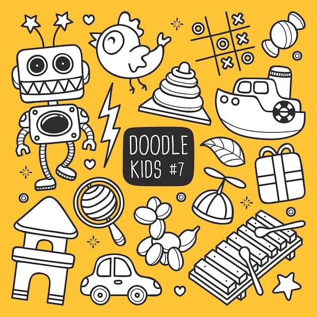 Doodle Enfants Dessinés à La Main Vecteur gratuit
