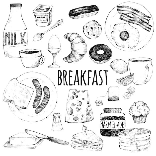 Doodle ensemble de nourriture pour le petit déjeuner Vecteur Premium