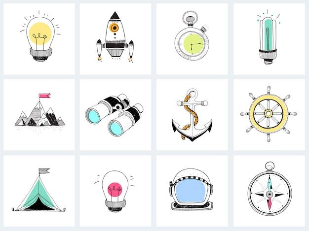 Doodle ensemble de stratégie d'entreprise Vecteur gratuit