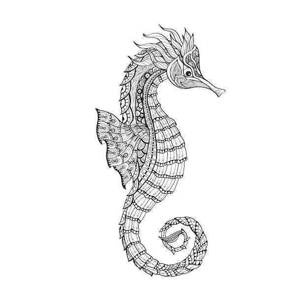 Doodle Esquisse Hippocampe Ligne Noire Vecteur gratuit