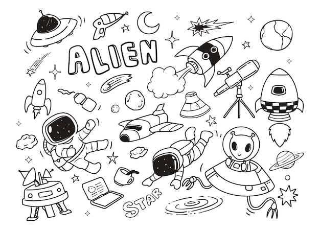 Doodle Extraterrestres Rapides Vecteur Premium