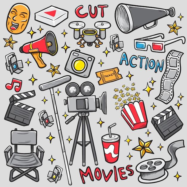 Doodle faisant film ensemble stock vector illustration à colorier Vecteur Premium