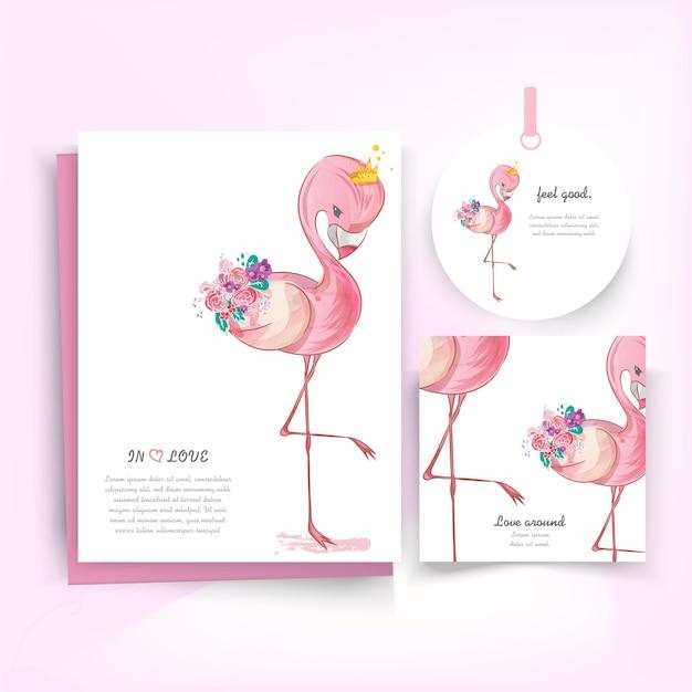 Doodle Flamingo Peinture Aquarelle à Fleurs. Vecteur Premium
