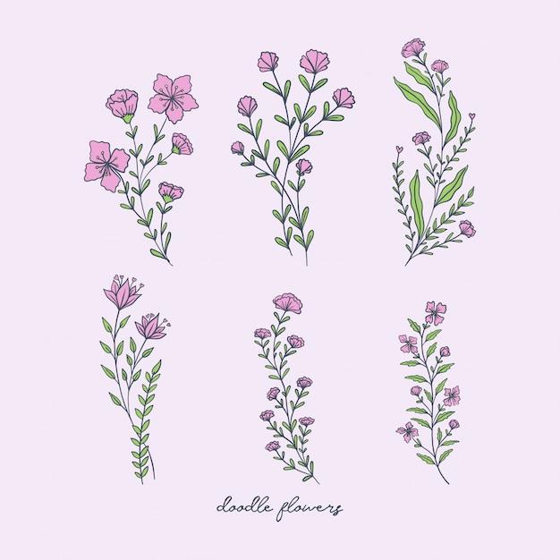 Doodle Fleurs Décorations Vecteur Premium