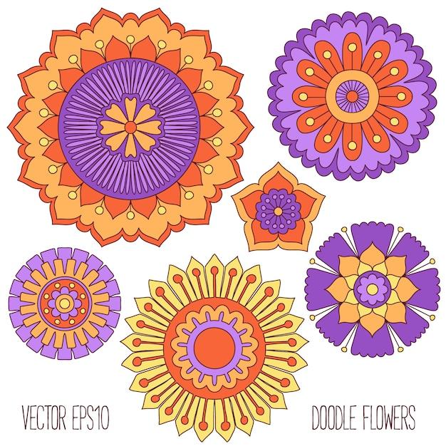Doodle fleurs ensemble Vecteur Premium