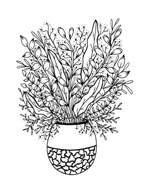 Doodle floral dessiné à la main sur vase Vecteur Premium