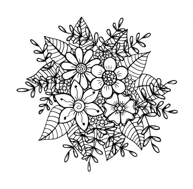 Doodle floral dessiné à la main Vecteur Premium