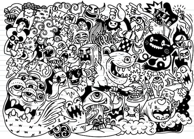 Doodle fond monstre mignon, dessin à la main doodle Vecteur Premium