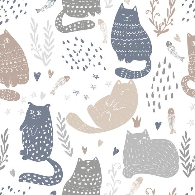 Doodle funny cats seamless pattern. bébé et enfants textile et fond d'écran. modèle de vecteur d'emballage mignon et scrapbooking. Vecteur Premium