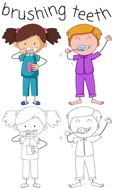 Doodle garçon et fille se brosser les dents Vecteur gratuit