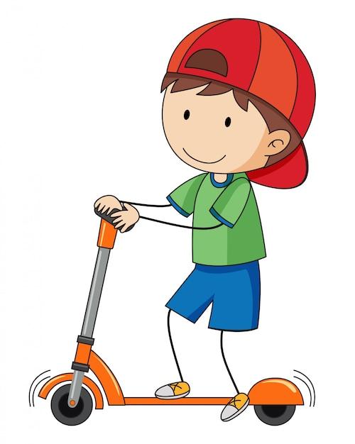 Doodle garçon jouant trottinette Vecteur gratuit