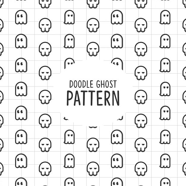 Doodle ghost pattern Vecteur Premium