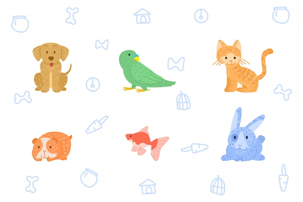Doodle hand draw animal Vecteur Premium