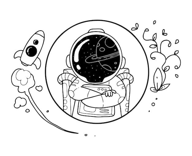 Doodle heureux astronaute Vecteur Premium