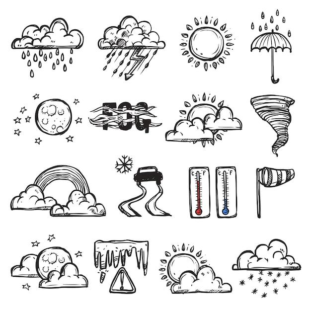 Doodle jeu de météo Vecteur gratuit