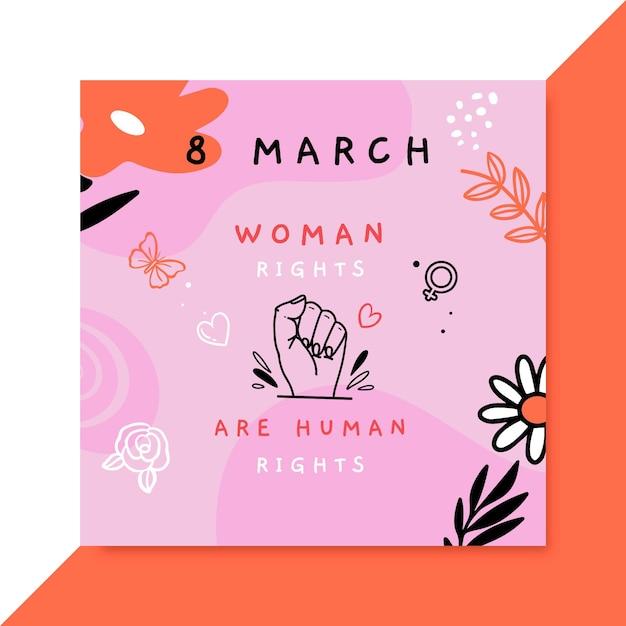 Doodle Journée Des Femmes Colorées Instagram Post Vecteur gratuit