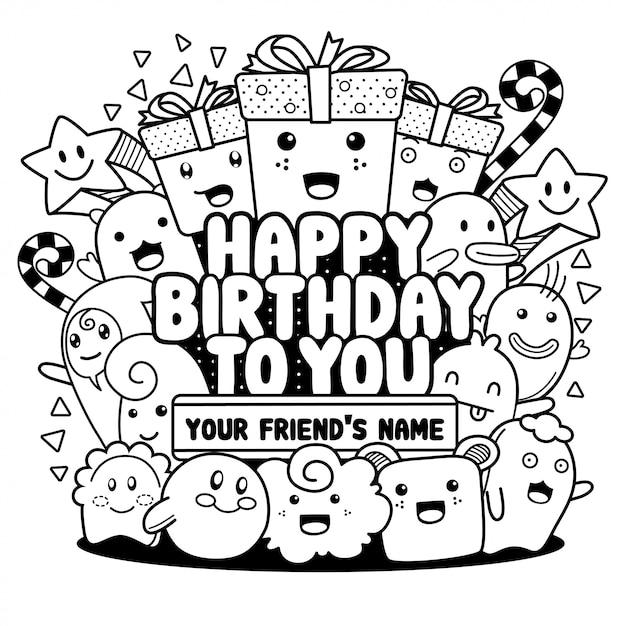 Doodle joyeux anniversaire cartes de vœux Vecteur Premium