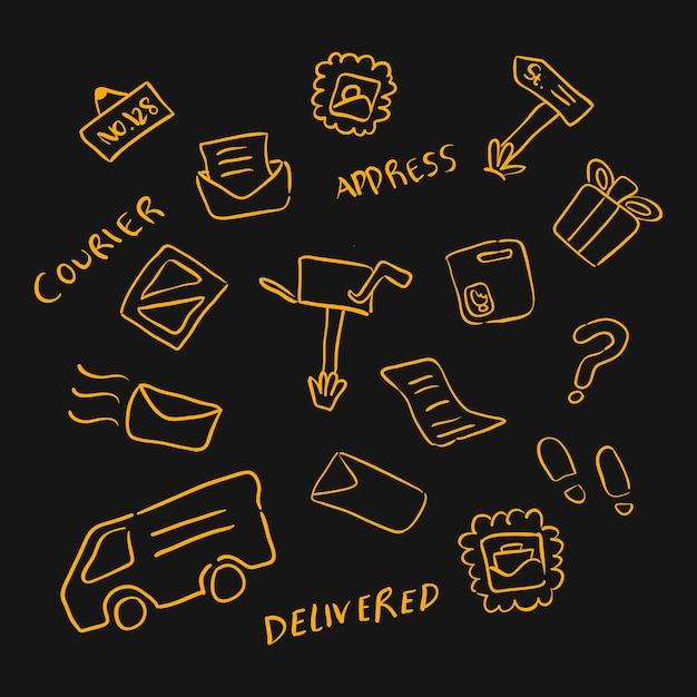 Doodle Main Dessin Bureau De Poste Ou élément Dobjet Logistique