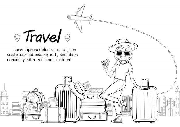Doodle main dessiner voyageur de dessin animé mignon femme avec bagages voyage autour du concept de monde. tirage à la main, Vecteur Premium