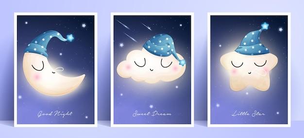 Doodle Mignon Lune, étoile Et Nuage Avec Collection De Cadres Vecteur Premium