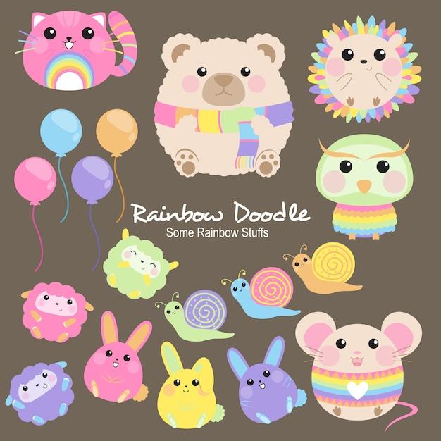 Doodle de milo rainbow objects Vecteur Premium