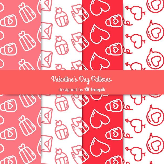 Doodle motifs de valentine Vecteur gratuit