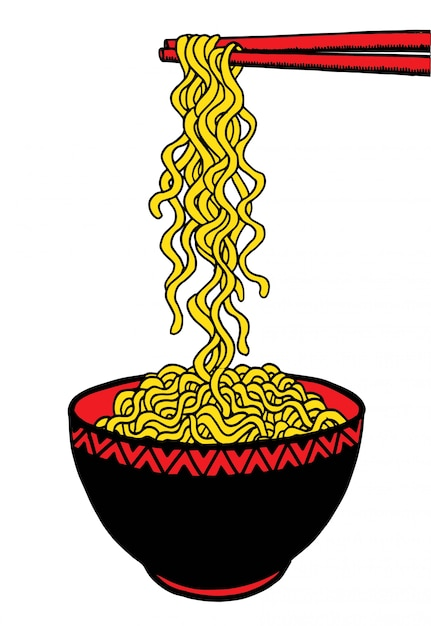 Doodle noodle au bol et baguettes Vecteur Premium
