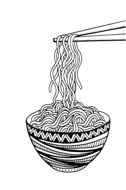 Doodle noodle à bol et baguettes. dessin à main levée Vecteur Premium