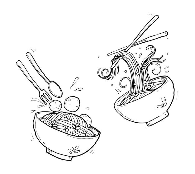 Doodle De Nouilles Asiatiques Vecteur Premium