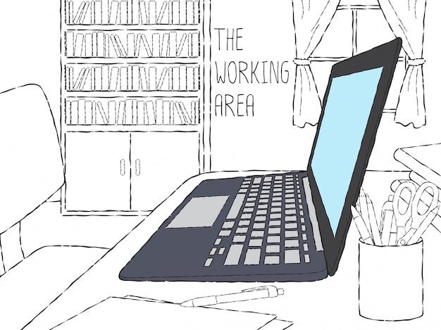 Doodle ordinateur portable dans l'espace de travail Vecteur Premium