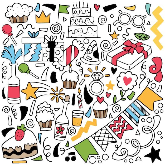 Doodle parti dessiné à la main Vecteur Premium