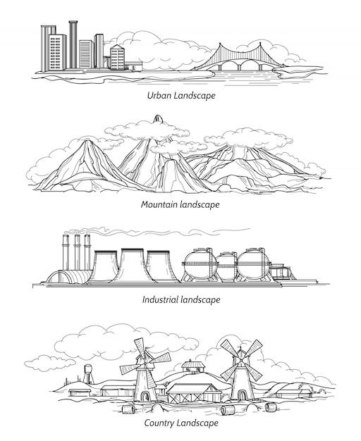 Doodle paysages dessinés à la main Vecteur Premium