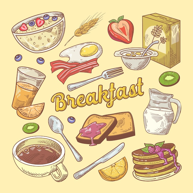 Doodle De Petit-déjeuner Dessiné à La Main Avec Des Toasts Et Des Crêpes Vecteur Premium