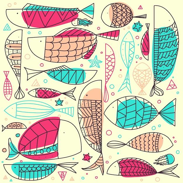 Doodle de poisson dessiné à la main. Vecteur Premium