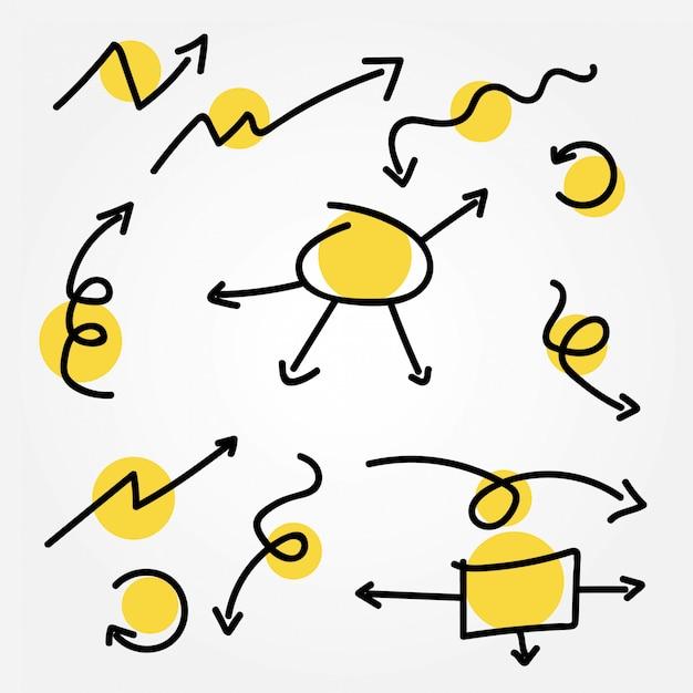 Doodle set vectoriel de flèche Vecteur Premium
