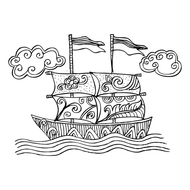 Doodle sketch d'un voilier Vecteur Premium