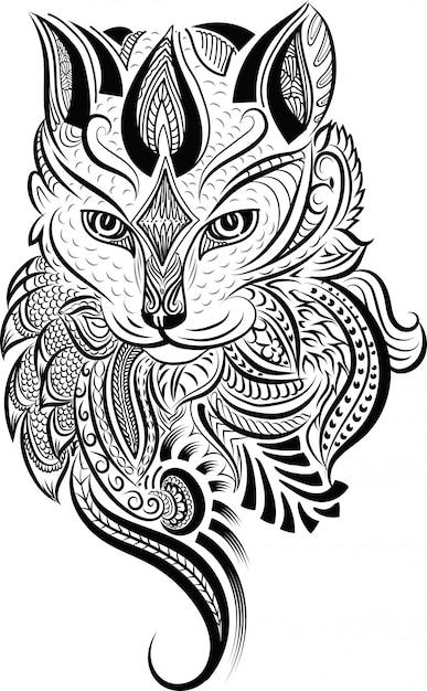 Doodle stylisé zentangle tête de chat Vecteur Premium