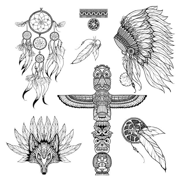 Doodle tribal set Vecteur gratuit