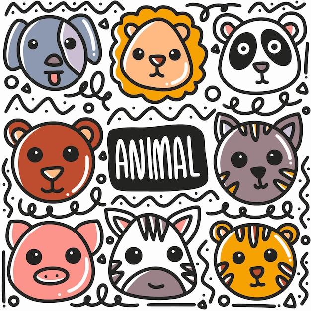 Doodle Visage Animal Dessiné Main Sertie D'icônes Et D'éléments De Conception Vecteur Premium