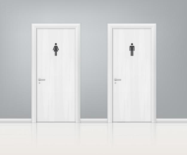 Doors wc realistic composition Vecteur gratuit