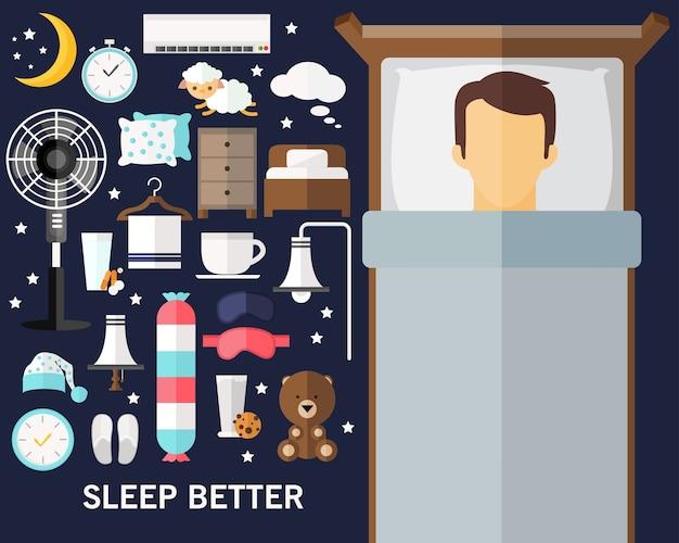 Dormir mieux fond concept icônes plates Vecteur Premium